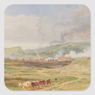 Landscape near Swansea South Wales oil on panel Square Stickers