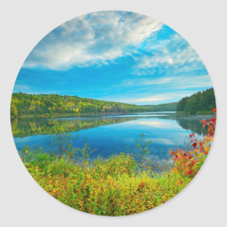 Landscape of Costello Lake Classic Round Sticker