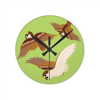 Landscape of everyday sparrow dances round clocks