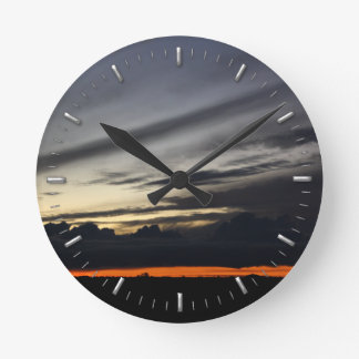 Landscape of getting late in the pine of Doñana Round Clock