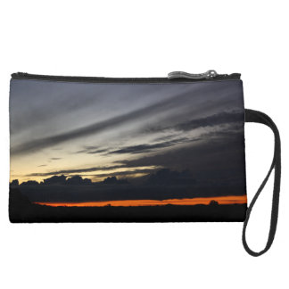 Landscape of getting late in the pine of Doñana Suede Wristlet