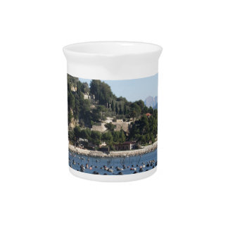 Landscape of Golfo Dei Poeti with its mussel farm Beverage Pitcher
