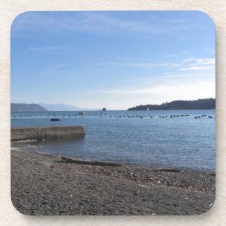 Landscape of Golfo Dei Poeti with its mussel farm Coaster