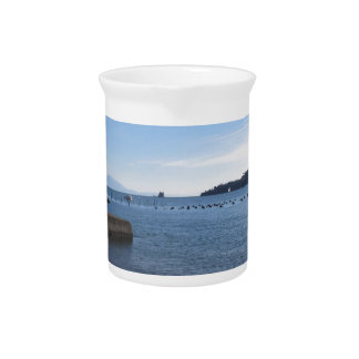 Landscape of Golfo Dei Poeti with its mussel farm Drink Pitcher