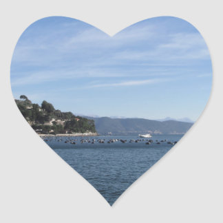 Landscape of Golfo Dei Poeti with its mussel farm Heart Sticker