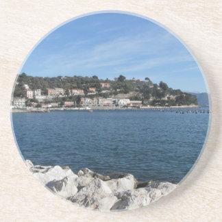 Landscape of Golfo Dei Poeti with its mussel farm Sandstone Coaster