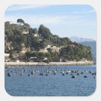 Landscape of Golfo Dei Poeti with its mussel farm Square Sticker