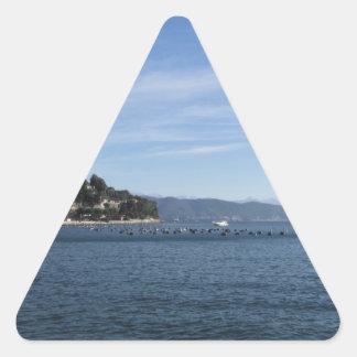Landscape of Golfo Dei Poeti with its mussel farm Triangle Sticker
