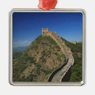Landscape of Great Wall, China Square Metal Christmas Ornament