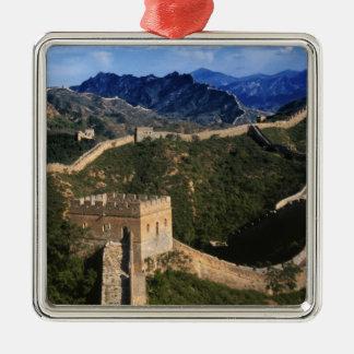 Landscape of Great Wall, Jinshanling, China Square Metal Christmas Ornament