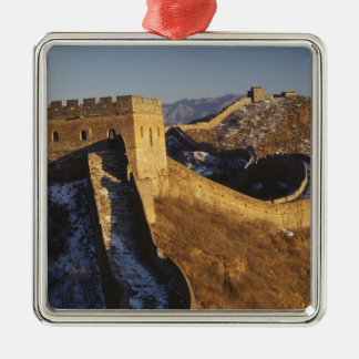 Landscape of Great Wall under sunset, China Square Metal Christmas Ornament