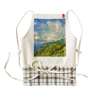 Landscape of greenery and water zazzle HEART apron