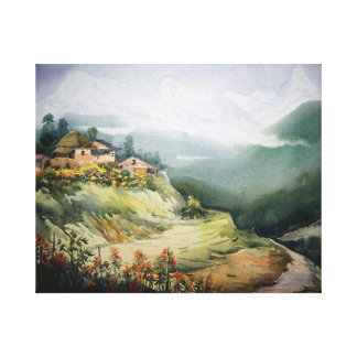 LANDSCAPE OF HIMALAYA-WATERCOLOR PAINTING CANVAS PRINT