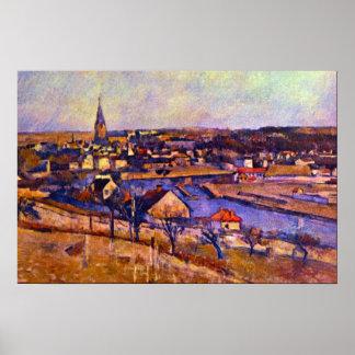 Landscape of Ile de France by Paul Cezanne Poster