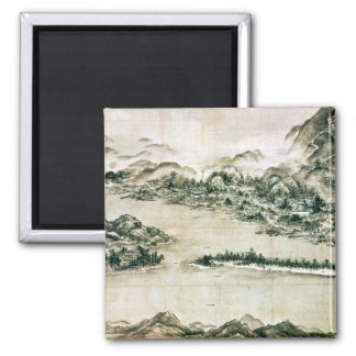 Landscape of mountains and a river magnet
