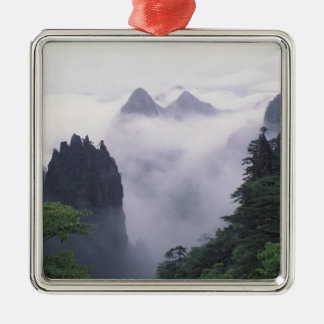 Landscape of Mt. Huangshan (Yellow Mountain) in Square Metal Christmas Ornament