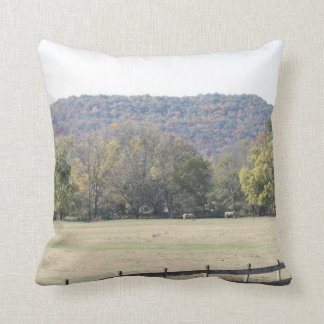 Landscape of pasture on the farm in North Alabama Throw Pillow