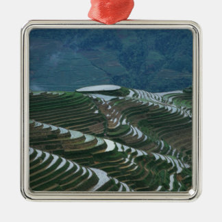 Landscape of rice terraces in the mountain, 2 square metal christmas ornament