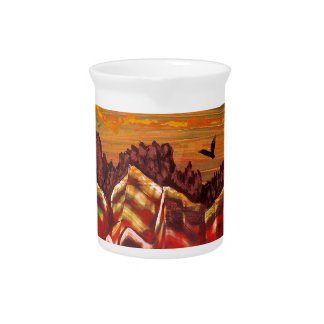 Landscape of the smoking volcano beverage pitcher