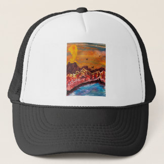 Landscape of the smoking volcano trucker hat