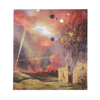 Landscape off ruins and fires by Felix Vallotton Memo Pad