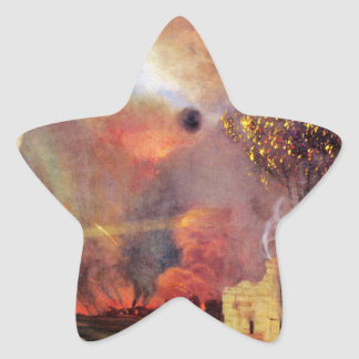 Landscape off ruins and fires by Felix Vallotton Star Sticker