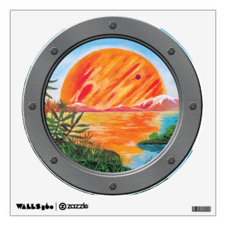 Landscape on Europa - Jupiter Moon Porthole View Wall Decal