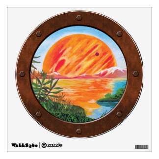 Landscape on Europa Jupiter Moon Porthole View Wall Sticker