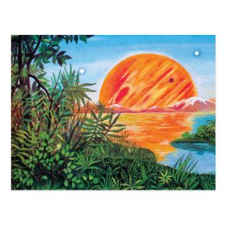 Landscape on Europa - Sci Fi Jupiter Moon Painting Postcard
