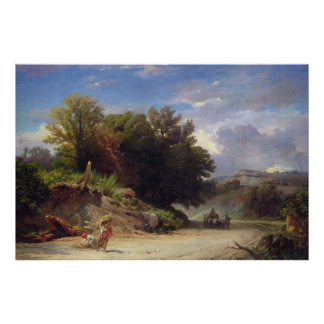 Landscape on the Outskirts of Rome, 1853 Poster