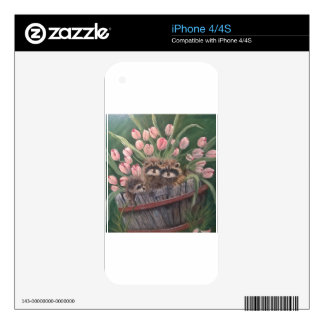 landscape paint painting hand art nature Racoons Decals For iPhone 4