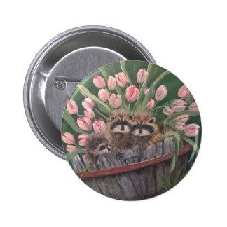 landscape paint painting hand art nature Racoons Pinback Button