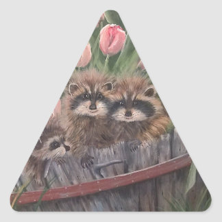 landscape paint painting hand art nature Racoons Triangle Sticker