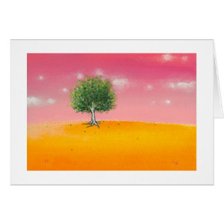 Landscape painting tree warm colorful sunny art card