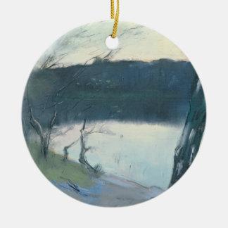 Landscape (pastel on canvas) ceramic ornament