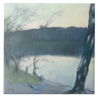 Landscape (pastel on canvas) ceramic tile