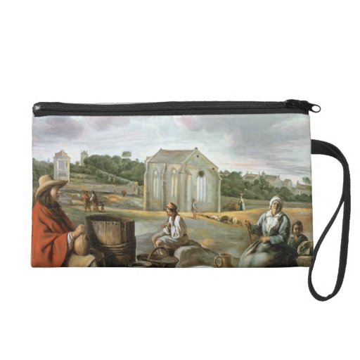 Landscape,Peasants & a Chapel by Le Nain brothers Wristlet Clutches