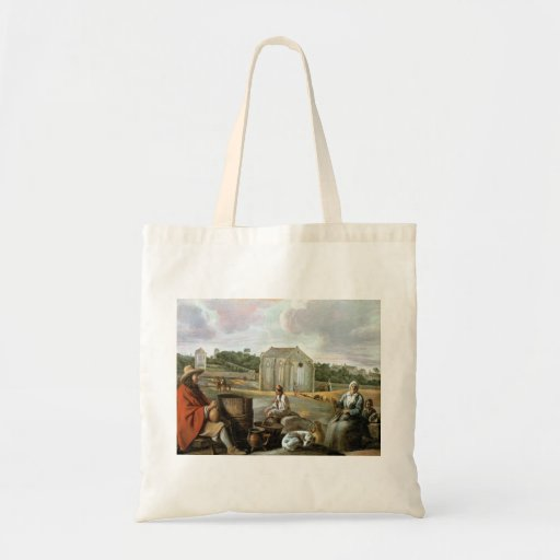 Landscape,Peasants & a Chapel by Le Nain brothers Tote Bags