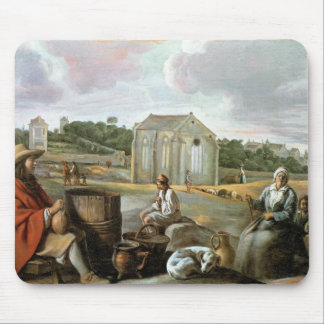 Landscape,Peasants & a Chapel by Le Nain brothers Mouse Pad