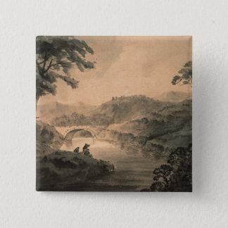 Landscape (pen & ink wash) pinback button