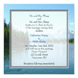 """Landscape photo wedding invitations. Grand Teton 5.25"""" Square Invitation Card"""