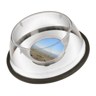 Landscape picture of sea, blue sky and sand beach. pet bowl