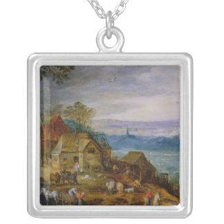 Landscape Scene Square Pendant Necklace