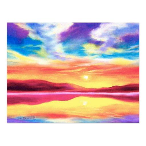 Landscape Sunset Lake Scene - Multi Postcard