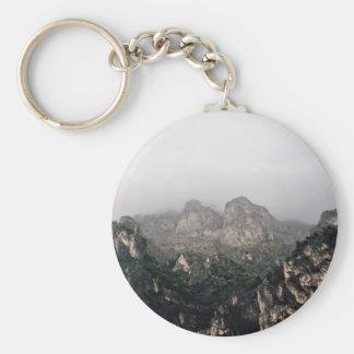 Landscape Themed, Fog Descends Over A Range Of Mou Keychain