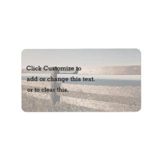 Landscape Themed, Wooden Fence Over Savanna Dry  G Address Label
