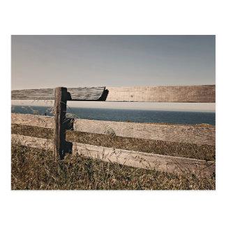 Landscape Themed, Wooden Fence Over Savanna Dry  G Postcard