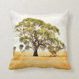 Landscape Tree Pillow, Green, Gold & Pale Purple Throw Pillow