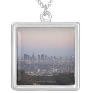 Landscape view of skyscrapers, Los Angeles Silver Plated Necklace