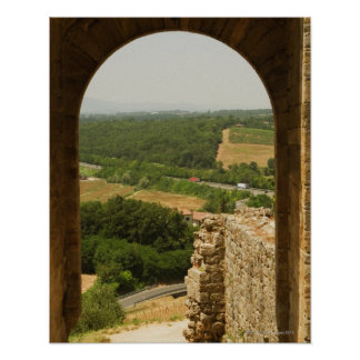 Landscape viewed through an archway, Porta Poster